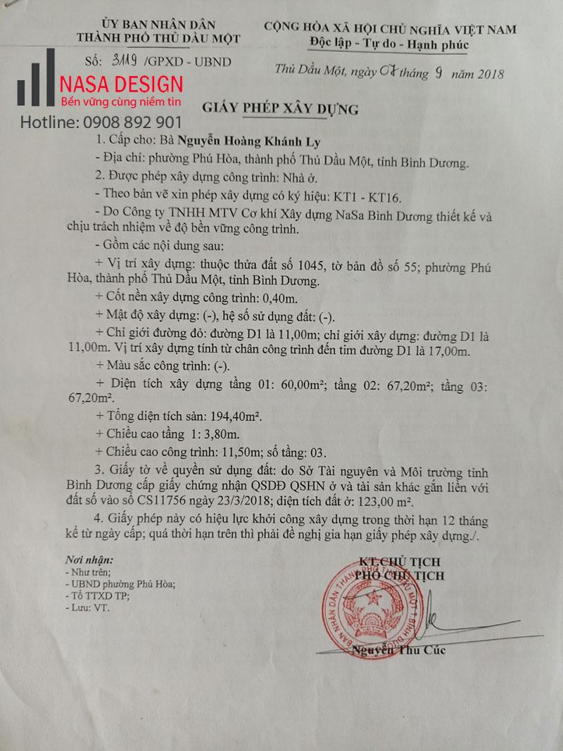 Chị Nguyễn Hoàng Khánh Ly khách hàng xin phép xây dựng Bình Dương